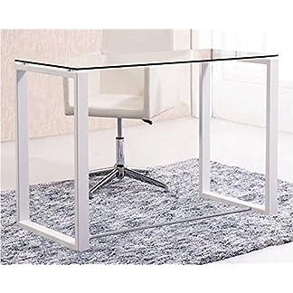 Mesa de estudio cristal patas blancas 100x50x75 cm de altura