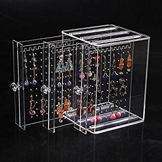 AIYoo Acrylic Earring Holder Dustproof Clear Earring Display Stand Organiser,Earring Studs Bracelet Necklace Storage Case,3 Panels 72 Holes Jewellery Rack Hanger Box With 3 Vertical Drawer