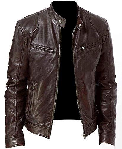 Leather fashions - giacca da motociclista in vera pelle di pecora, stile vintage marrone m
