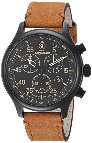 Timex Men's TW4B12300 Expedition Rugged Field Chronograph Tan/Black Leather Strap Watch