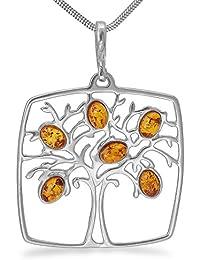 XXL Bernsteinschmuck Silber Anhänger Lebensbaum Baum des Lebens  -5cm-Silberanhänger Medaillon Bernstein Amulett   9505abdbe7