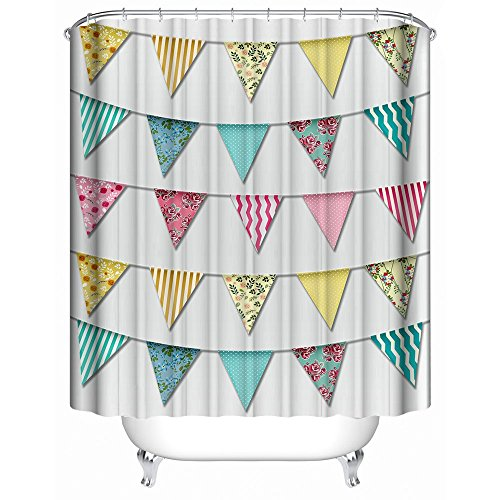 HUIYIYANG Home Bathroom Decorative Shower Bath Curtains,Party Happy Birthday Colorful Banner Rainbow Pattern Print,100% Polyester Fabric Shower Curtain 60