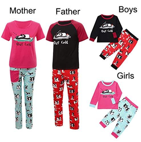 Mujer Hombre Familia de Navidad Pijama Manga Larga Ropa de Dormir Top + Pantalones para Familia papá de MOM bebés mamá Papá Christmas Amlaiworld