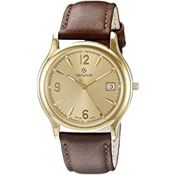GROVANA 1207.1111 Men's Quartz Swiss Watch with Gold Dial Analogue Display and Brown Leather Strap