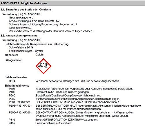SANIT - RohrGranate flüssig - der kräftige Rohrreiniger für harte Fälle - VPE: 6 Flaschen a' 1000ml - im Set inkl. 6 St. Original DEWEPRO® Single Scrubs - 3