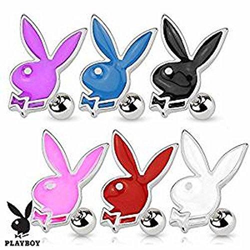 1 x offizielles lizenziertes Playboy-Emaille Pink Bunny und Bow-Tie Tragus oder Knorpel Piercing Dicke: 1,2mm Länge: 6mm Ball Größe: 4mm Material: Chirurgischer (Pink Kostüme Bunny Kit)