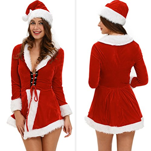 Baymate Babbo Natale Cosplay Costume Impostato Manica Lungo Partito Vestito Stile1 (Vestito+Cappello)