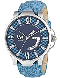 Watch Me Blue Dial Blue Jeans Denim Leather Strap Day And Date Collection Series Analog Quartz Watch For Men And...