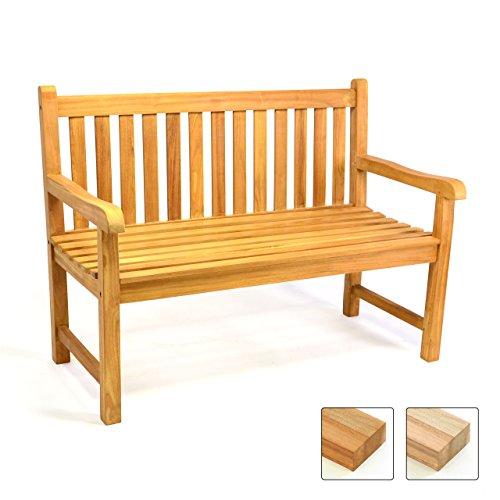 DIVERO 2-Sitzer Bank Holzbank Gartenbank Sitzbank 120 cm – zertifiziertes Teak-Holz behandelt hochwertig massiv – reine Handarbeit – wetterfest (Teak behandelt)