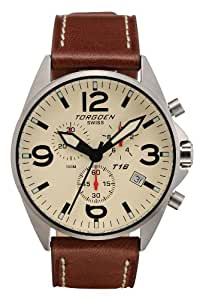 TORGOEN Swiss T16103 Men's 45mm Aviation Watch with Chronograph, Brushed Stainless Case, Beige Dial and Brown Italian Leather Strap