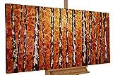 KunstLoft® Gemälde 'Herbstgold im Birkenwald' in 140x70cm | XXL Leinwandbild handgemalt | Weiße Bäumstämme im Wald auf Orange | signiertes Wandbild-Unikat | Acrylgemälde auf Leinwand | Modernes Kunstbild | Sehr großes Acrylbild auf Keilrahmen
