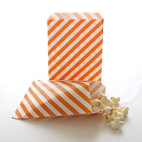 Halloween Party Bags, Birthday Party Paper Supply Packs, Gift Goodie Bags, Fall Bags, Orange Stripe Bags (25 Pack) by Food With - Halloween-goodie-bags