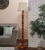 Cylindrical off white Wooden Floor Lamp