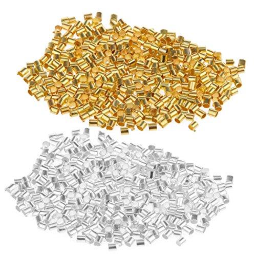 Sharplace 1200 Stück Silber Gold Quetschperlen Crimp Beads Quetschröhrchen Zum Basteln -