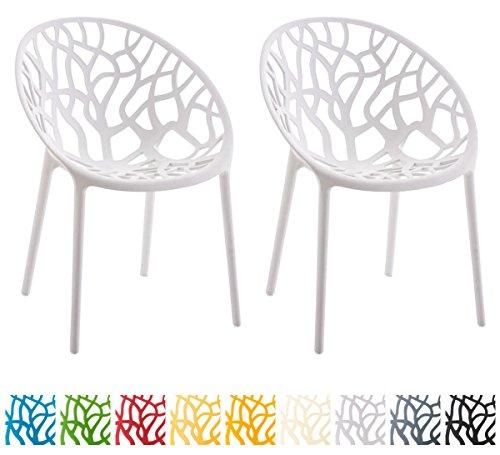 CLP 2er-Set Gartenstuhl Hope aus Kunststoff I 2X Wetterbeständiger Stapelstuhl mit Einer max. Belastbarkeit von: 150 kg I erhältlich Weiß