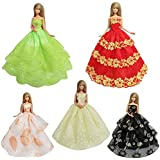 FairyStar 5pcs Handmade Fashion Wedding Party Gown Lace Long Dresses Clothes For Barbie Doll Birthday Gift