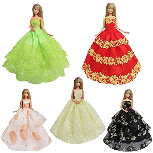 ea157749d2 FairOnly Vestito da Partito di Pizzo Fatto a Mano di 5pcs per Barbie Pullip  Doll