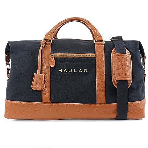 Reisetasche, Haular - Weekender Handgepäck Travelbag (Messing Verzierung) - Canvas (Schwarz)