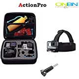Onbn Gopro Medium Size(case + Head Strap Mount) Black Carrying And Travel Storage Collection Protective Bag Case For Gopro Hero 4|3+|3|2|1 Medium Bag By ONBN