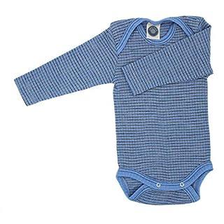 Cosilana Baby Body 1/1 Arm, Größe 74/80, Farbe Hellblau-Braun-Natur - Exclusiv Wollbody®GmbH - Qualität 91 45% Baumwolle kbA, 35% Schurwolle kbT, 20% Seide