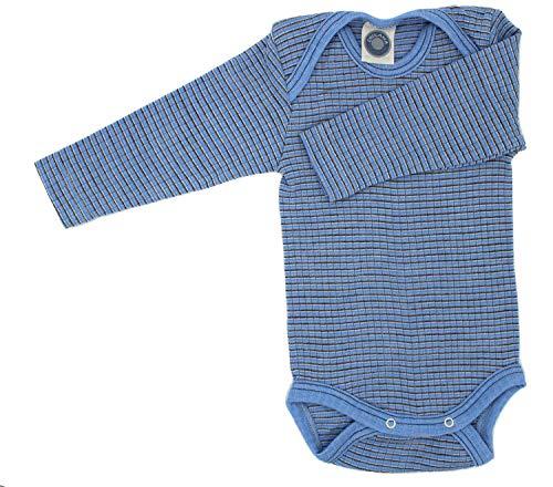 Baumwolle-seide-hosen (Cosilana Baby Body 1/1 Arm, Größe 98/104, Farbe Hellblau-Braun-Natur - Exclusiv Wollbody®GmbH - Qualität 91 45% Baumwolle kbA, 35% Schurwolle kbT, 20% Seide)