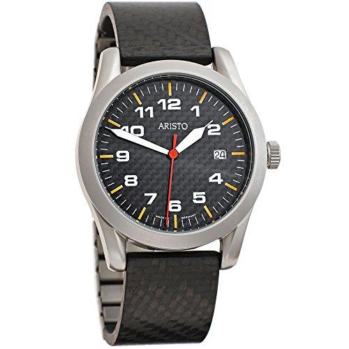Aristo 3h45qcar Hombre Reloj de pulsera cuarzo analógico de acero inoxidable reloj de hombre con carbon