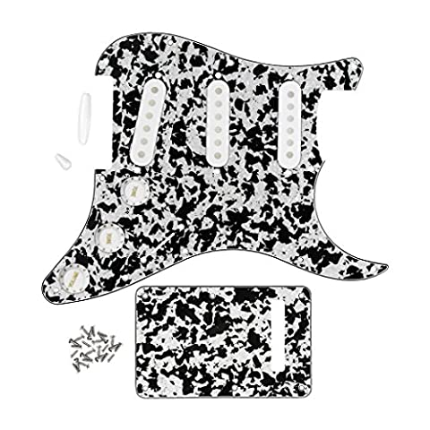 Fleor SSS Pickguard avec plaque arrière/(50mm, 2pcs 52mm) Pickup couvertures/2t1V Pointes de bouton de commande pour Stratocaster Guitare supplémentaire, agate Noir/blanc