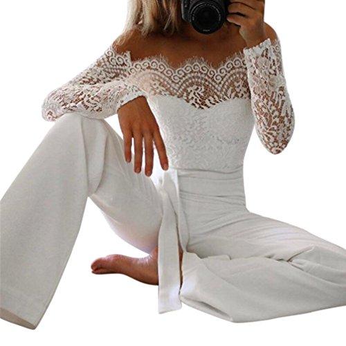Btruely Damen Jumpsuit Sommer V-Ausschnitt Overall Lange Playsuit Elegant Romper Lange Hosen Strandkleid Spitze Clubkleidung (S, Weiß) Weiße Jumpsuit Für Kinder