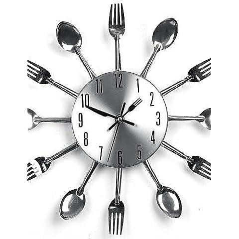 Da Wu Jia arte de pared de diseño moderno Sliver cubertería utensilio de cocina cuchara Reloj de pared Reloj de horquilla