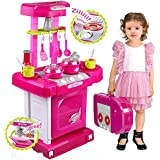 Jack Royal Battery Operated Kitchen Play Set For Kids With Roll Play Kitchen Set Carry Case, With Led Lights & Sound (Multi Color)