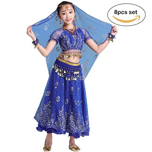 Magogo Mädchen Bauchtanz Kleid Bollywood Indian Folk Kids Arabian Performance Kostüm Karneval Outfit (105-130cm/41-51in, Dunkelblau)