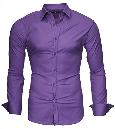 KAYHAN Homme Chemise Slim Fit Repassage facile, Manches Longues Modell - UNI 2017 Violet