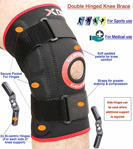 bc3d3b9d54 Knee Support Hinged Brace Adjustable Neoprene Elasticated Knee Support  Sleeve Open Patella Strap Protector Pads Stabilizing