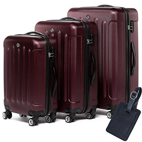 FERGÉ Dreier Kofferset Leder Adressanhänger LYON Trolley-Koffer leicht Reisekoffer NEU   Set 3-teilig Hartschalenkoffer 4 Zwillingsrollen (360°)   Koffer...
