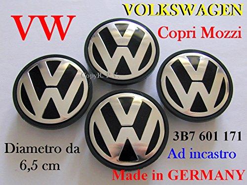 VOLKSWAGEN VW NERI Coprimozzi Tappi Cerchi Wheels 6,5 usato  Spedito ovunque in Italia