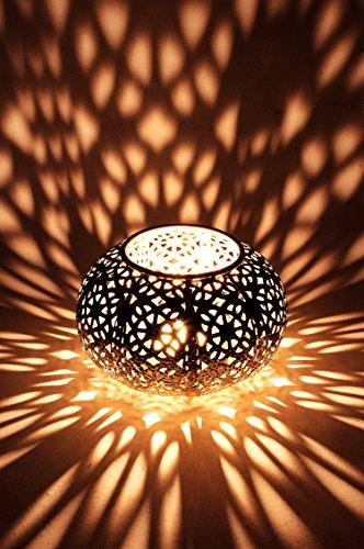 Orientalisches Windlicht Laterne orientalisch Funda 8cm Groß Silber | Orientalische Vintage Teelichthalter Silberfarben innen und außen | Marokkanische Windlichter aus Metall als Ostern Dekoration