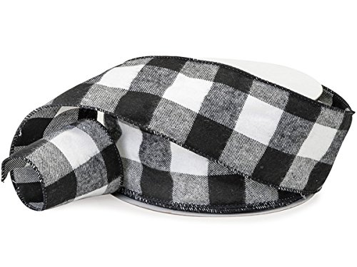 Schwarz Weiß Karo Check Flanell (Holzfällers, Band, 6,3cm breit x 25Meter, schwarz weiß Buffalo Check Band-leicht Flanell: Holzfällers, Party Supplies:)