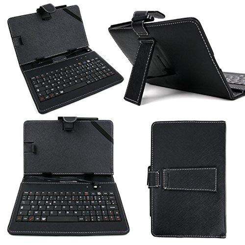 DURAGADGET Etui clavier aspect cuir noir AZERTY (français) pour tablettes 8 pouces + stylet tactile BONUS - Garantie de 5 ans