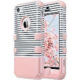 iPhone 5c caso, ULAK iPhone 5c Funda Carcasa híbrido de alto impacto de silicona suave y dura cubierta de la caja de la PC para el iPhone 5c (Rayas mínimas + oro rosa)