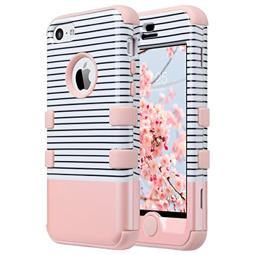 Coque iPhone 5c, ULAK Housse dur de Protection en Multi-couleurs Lourde en Matériaux Hybrides Coque pour Apple iPhone 5c (Or Rose Stripes)