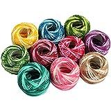 CurtzyTM 10 Colourful Stripey Crochet Cotton Thread Reels- 950 Metres- Crafts Knitting Lacing