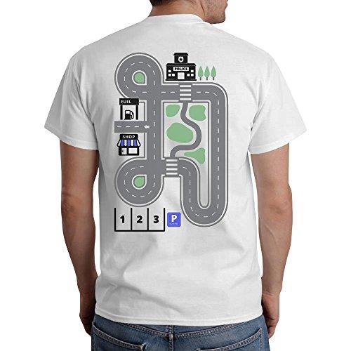 Straße um bei Papa auf dem Rücken zu spielen während Papa schläft T-Shirt Large Weiß (Rücken T-shirt Gedruckt)