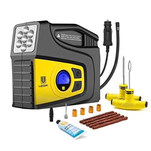 Preisvergleich Produktbild Luftkompressor,  Tragbare Auto Kompressor 12V DC Air Inflator mit LED Notbeleuchtung und Reifenreparatur Set,  2 Hochdruckdüsen geeignet für Autos / Fahrräder / Basketbälle