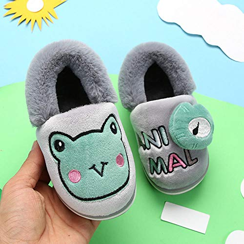 manxuecao Ladies House Slippers,Animal frog child warm cotton slippers,Men