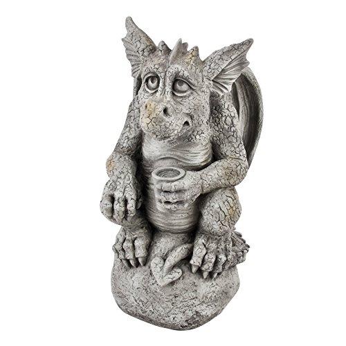 Dadeldo Living & Lifestyle Gargoyle auf Kugel Garten Deko Figur 36x19x20cm grau Drache Torwächter