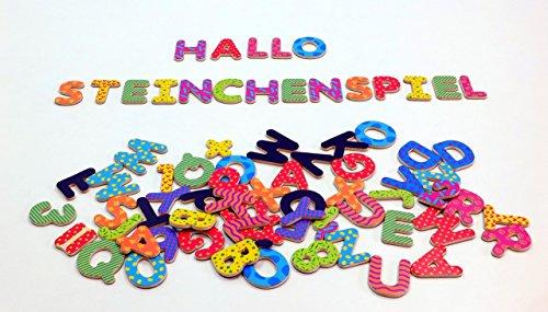 Unbekannt Magnetische Buchstaben + Zahlen aus Holz / farbig Bedruckte Holzteile mit magnetischer Rückseite / für Kinder ab 3 Jahren (Holz-buchstaben Zahlen)