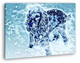 deyoli süßer Kleiner Hund im Schnee Format: 100x70 Effekt: Zeichnung als Leinwandbild, Motiv fertig gerahmt auf Echtholzrahmen, Hochwertiger Digitaldruck mit Rahmen, Kein Poster oder Plakat