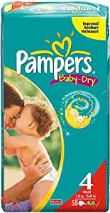 Pampers Baby Dry couches Taille 4 Maxi (7-18 Kg) Geant 2x58, 116 couches