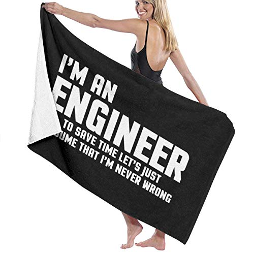 THCDTOP19 I'm An Engineer Funny Quote Beach Towels Bath Towels For Teen Girls Adults Travel Towel Pool and Gym Use 31x51 Inches