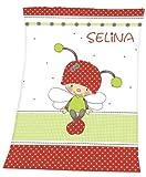 Decke mit Namen weiss-rot Käfer-Schmetterling für Kinder und Babys Babydecke Kinderdecke